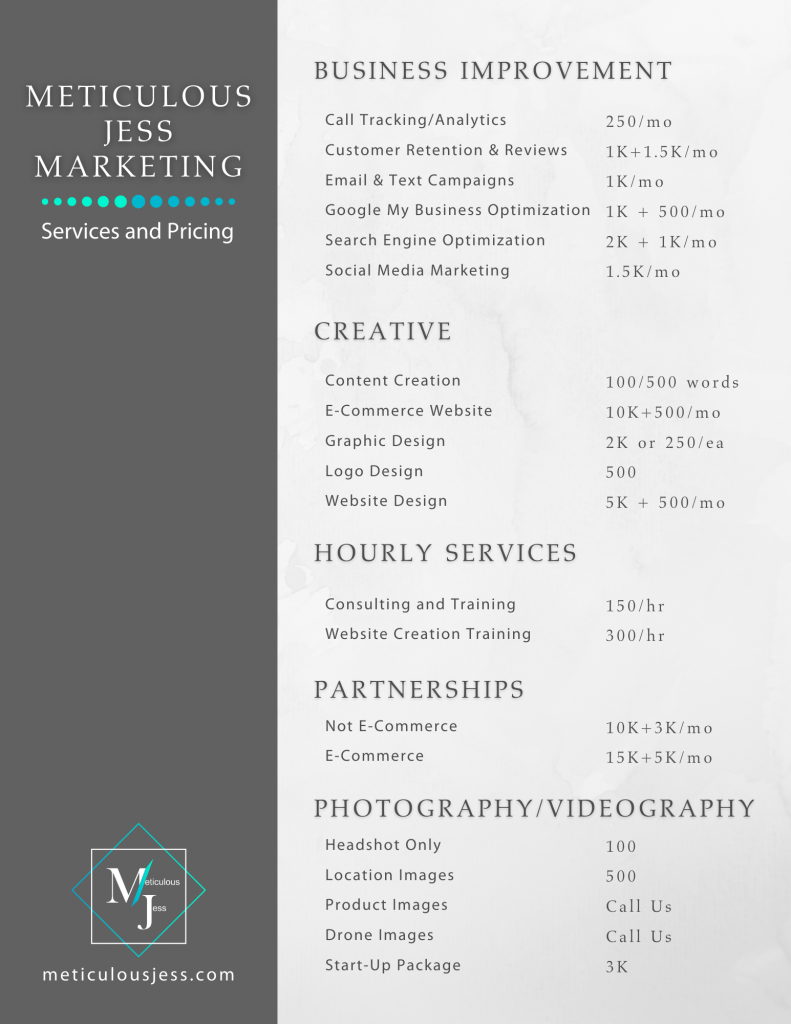 marketing and business services and pricing tampa